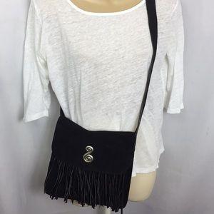 Handbags - Suede cross body fringe bag